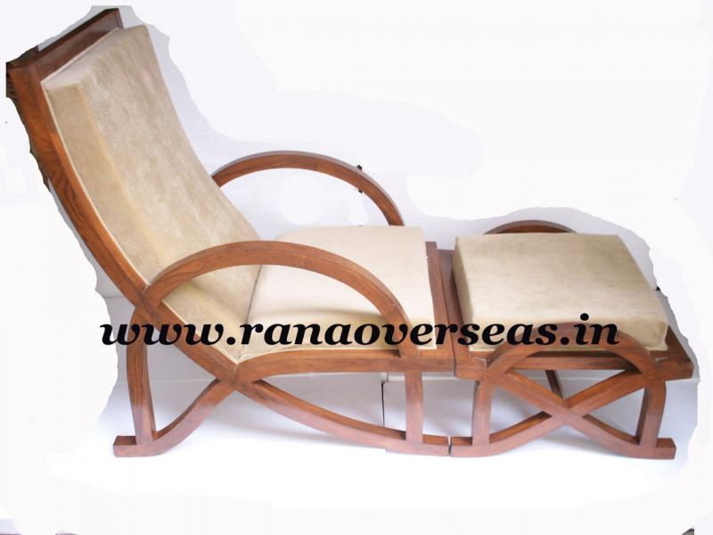 Wooden Relaxing Chair with Foot Stool