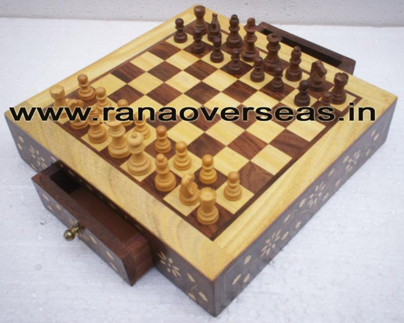 Wooden Brass Inlay Chess Set - 1
