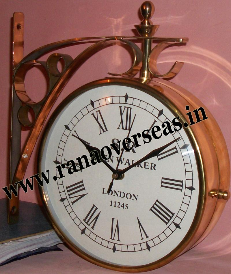 Brass Double sided clock.