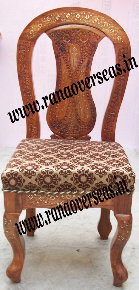 Wooden Brass Inlay Carved Chair