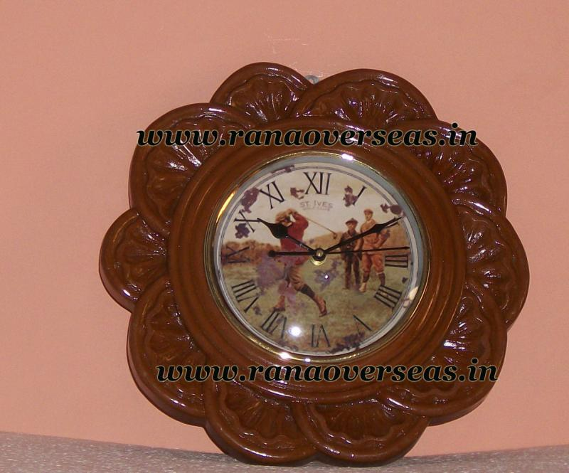 Wall Hanging Wooden Clock in 8 Inches , design no b