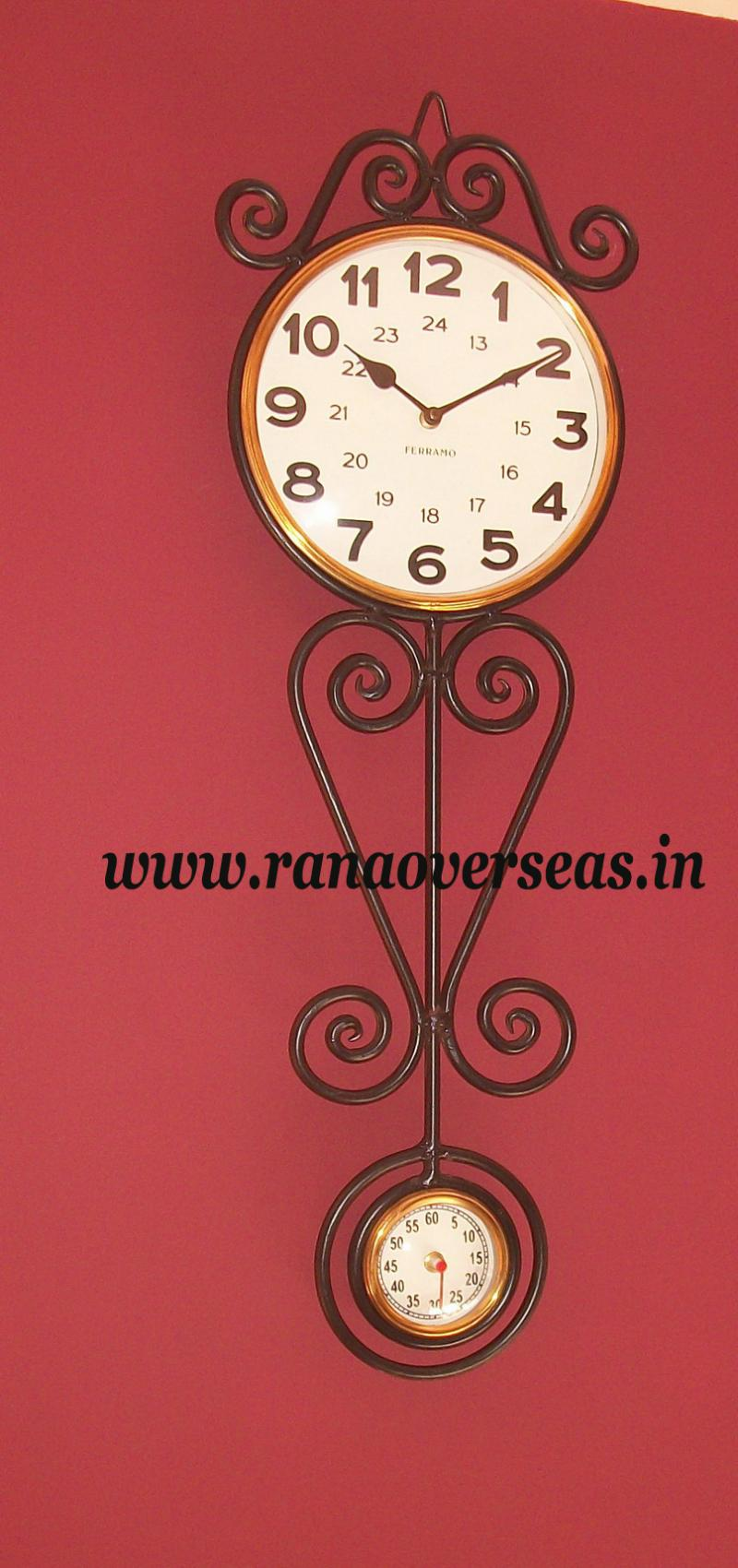 Wall Hanging Rod Iron Clock.
