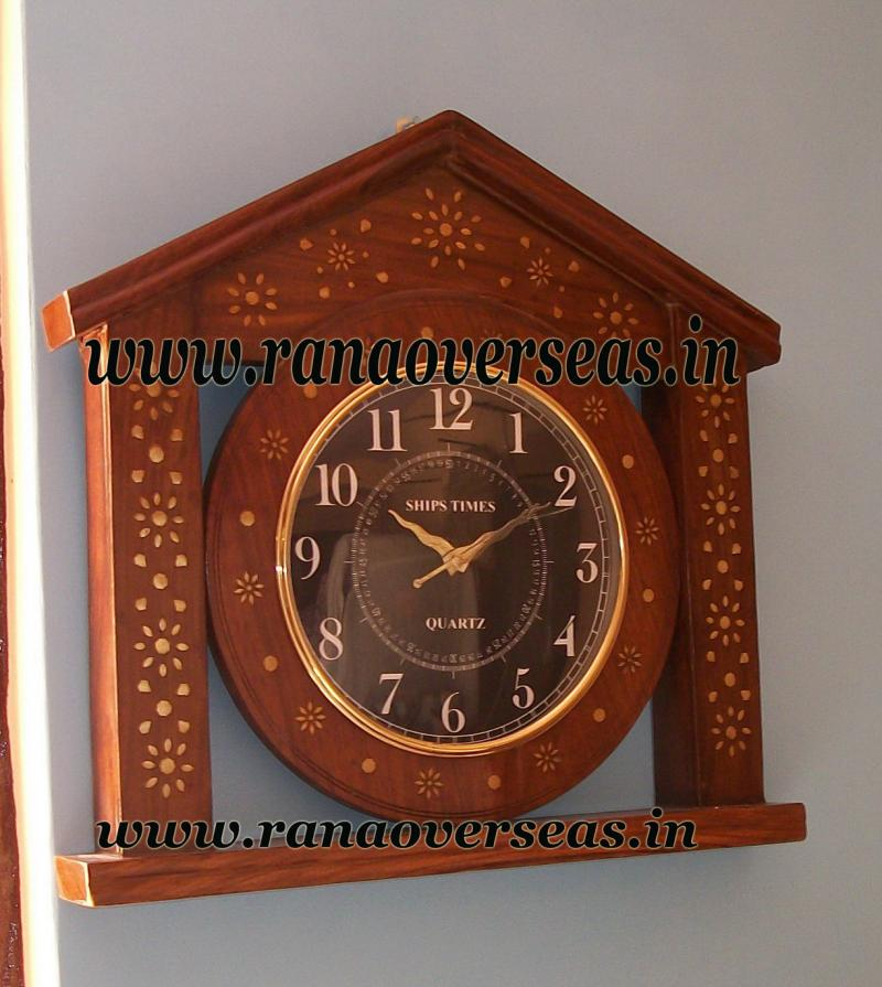 Sheesham Wood Brass Inlay Wall hanging Clock in Unique Design in Hut Shape