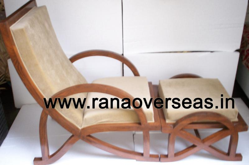 Wooden Rest Chair with Foot Stool