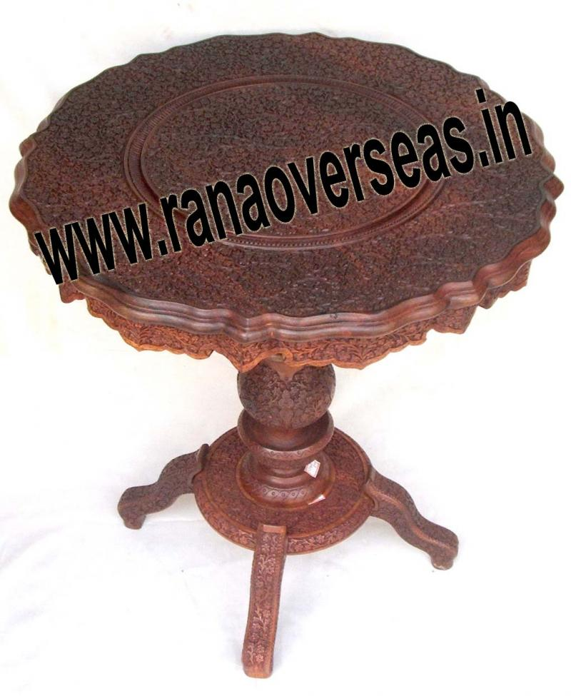 Wooden Pillar table in Full carving
