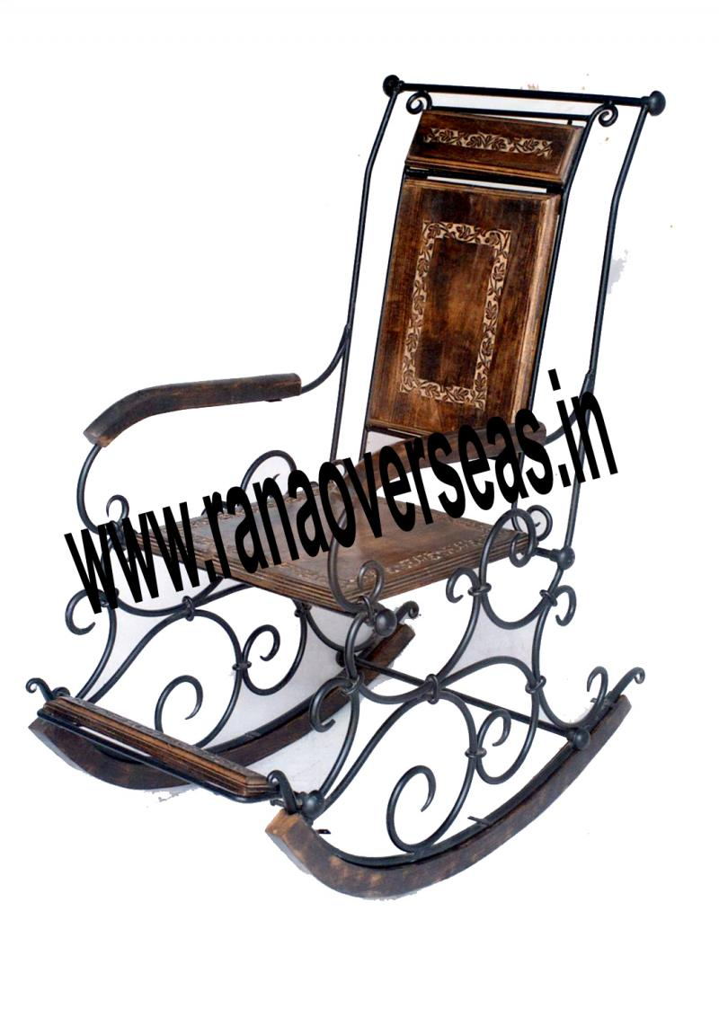 Iron Wood combination Rocking chair 4