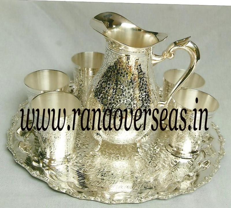 Silver Plated Jug with Glasses