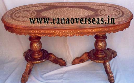 Wooden Brass Inlaid hand Carved Table - 1