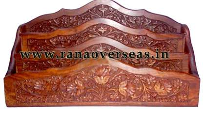 Wooden Carved Wall Hanging Letter Rack  - 1