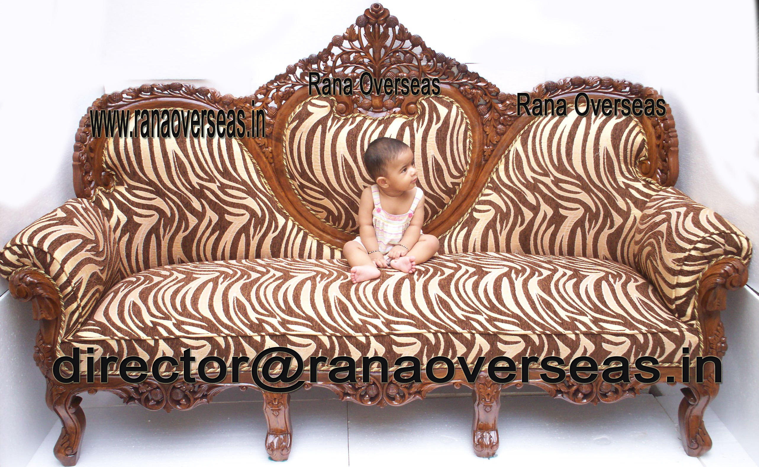 WOODEN CARVED SOFA SET - 2