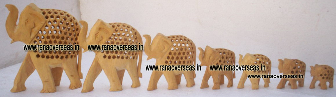 Wooden Carved Under Cut Elephant Set