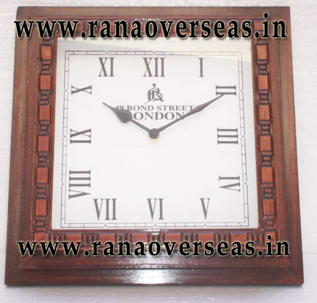 Wooden Square Shape Wall Clock.