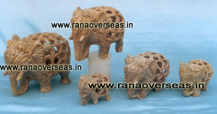 Stone Under Cut Elephant.. One baby Inside mother Stomach Set of 5 Pcs