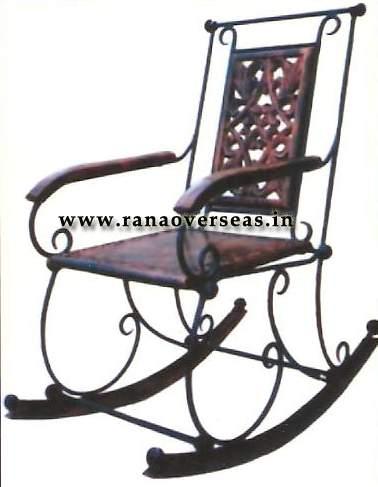 Wooden Iron rocking Chair.