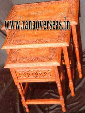 Wooden Brass Inlaid Stool.
