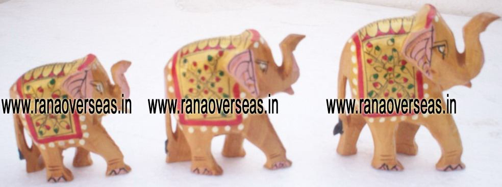 Wooden Painted Elephant Set