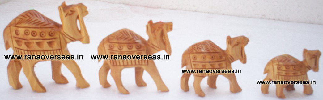 Wooden Carved Camel Set