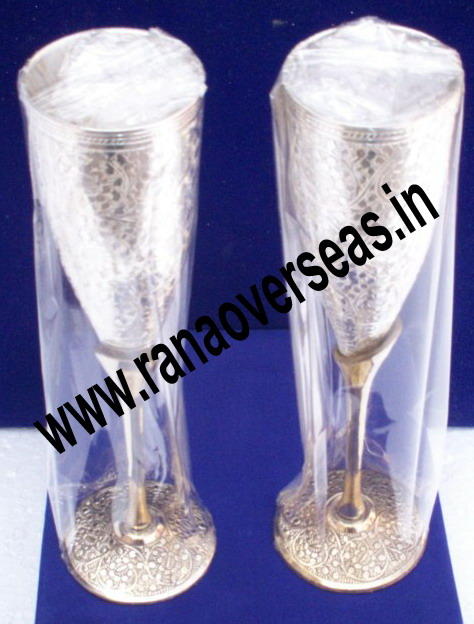 Silver Plated Wine Glasses / Goblets Set of 2 Pcs