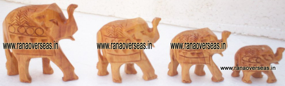 Wooden Carved Elephant Set