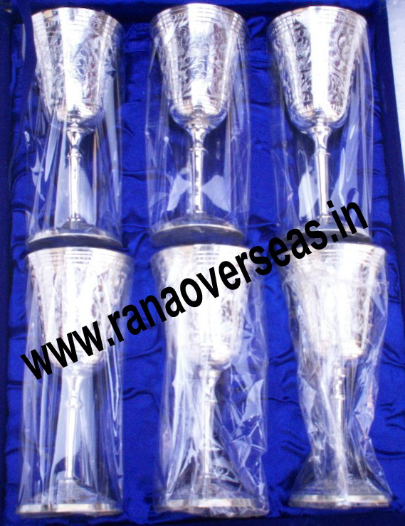 Silver Plated Wine Glasses / Goblets Set of 6 Pcs