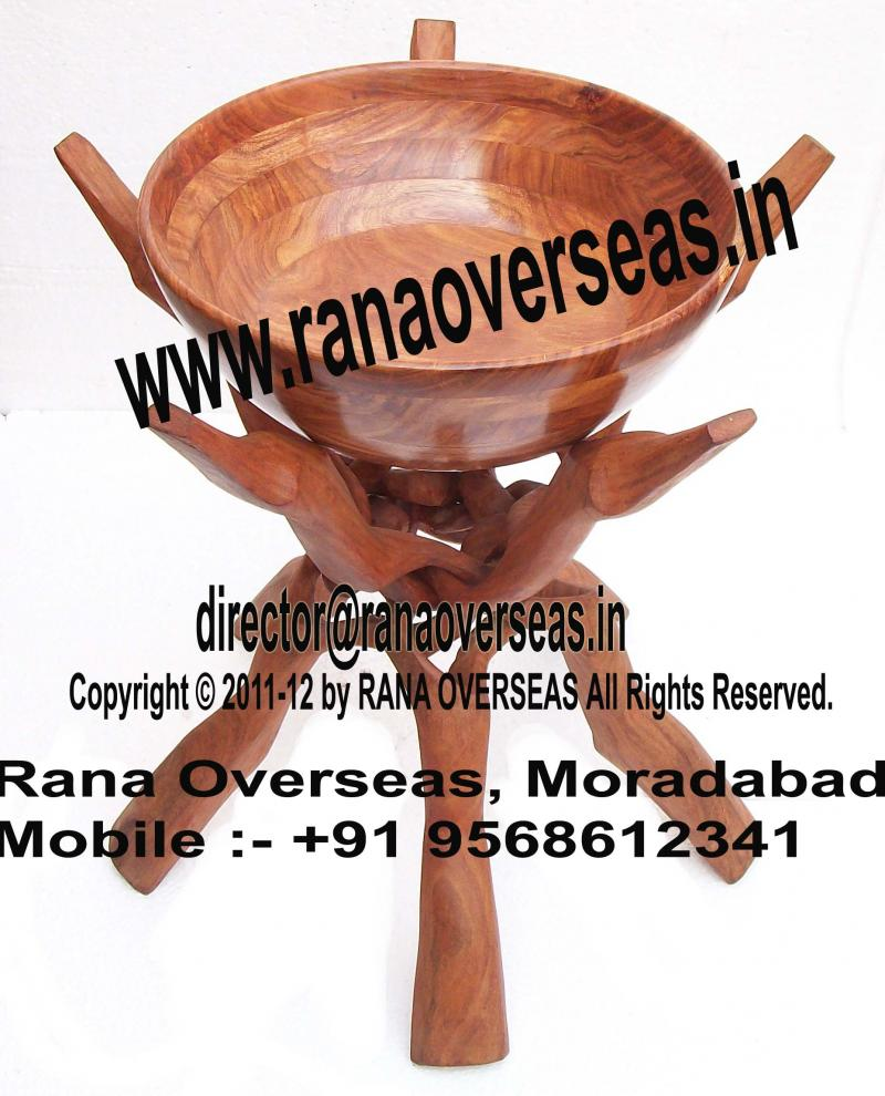 Wooden Bowl With Wooden Stand 01