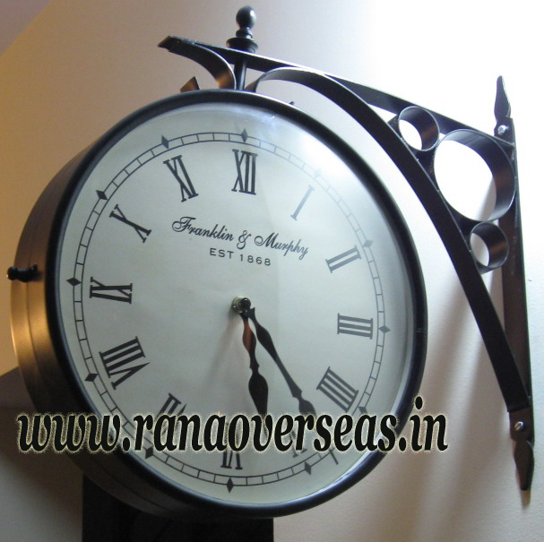 Double Sided Wall hanging Clock in 12 Inches Dial.